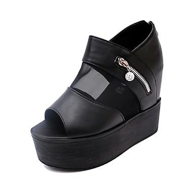 Naisten Kengät Tekonahka Kesä Syksy Creepers Sandaalit Kiilakantapää Vetoketjuilla varten Kausaliteetti Valkoinen Musta