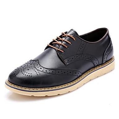 Masculino sapatos Couro Primavera Verão Outono Inverno Conforto Oxfords Caminhada Cadarço Para Casual Festas & Noite Preto Amarelo Marron