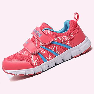 Tyttöjen Urheilukengät Comfort PU Kevät Syksy Kausaliteetti Kävely Comfort Tarranauhalla Tasapohja Punainen Sininen Pinkki Tasapohja