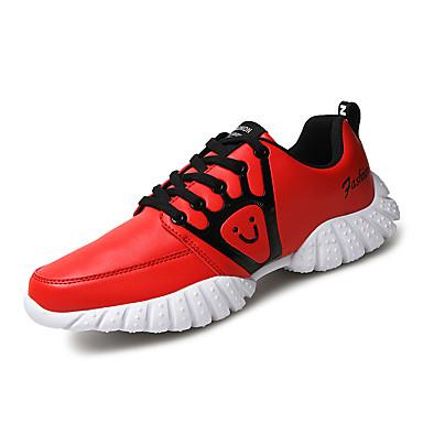 Sneakers-Læder Ruskind Tyl-Komfort-Herre-Sort Rød Hvid-Udendørs Fritid Sport-Flad hæl