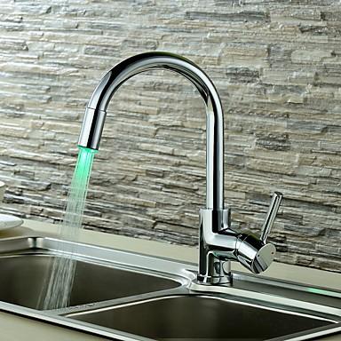 Baderom Sink Tappekran - LED Krom Centersat Enkelt Håndtak Et Hull