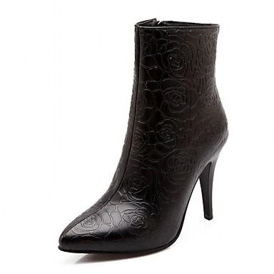 Hæle-Syntetisk laklæder Kunstlæder-Cowboystøvler Ridestøvler Modestøvler-Dame-Sort Hvid-Bryllup Kontor Formelt Fritid Fest/aften-Stilethæl