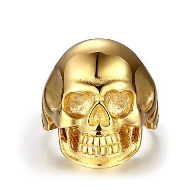 Herrn Ring - Edelstahl Totenkopf Punk 8 / 9 / 10 Gold Für Normal