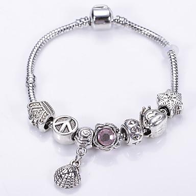 Armbånd Charm-armbånd / Strand Armbånd Krystal Round Shape Mode Party / Daglig / Afslappet Smykker Gave Sølv,1pc