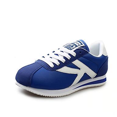 Dames Sneakers Lente Herfst Comfortabel Suède Tule Weefsel Sport Platte hak Veters Blauw Rood Grijs Marine Blauw