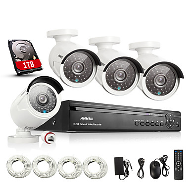 ANNKE® 4CH HDMI 960P NVR CCTV Security System Remote View(QR Code  Scan,Quick Access)