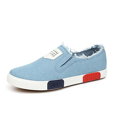Herre-Syntetisk Lerret-Flat hæl-Komfort-Flate sko-Friluft Kontor og arbeid Fritid-Svart Blå Hvit