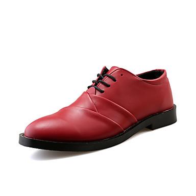 Oxford-kengät-Tasapohja-Miesten-Nahka-Musta Ruskea Punainen Valkoinen-Toimisto Rento Juhlat