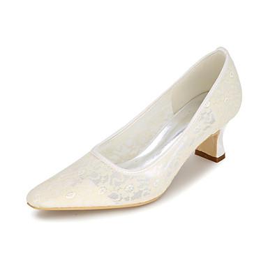 Escarpin Bout Talon Basique Bottier mariage Mariage Chaussures Eté carré Chaussures Rose Ivoire de Bleu Printemps Tulle 06177674 Femme zwxHIXqPn