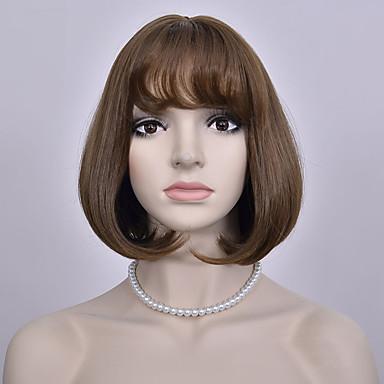 mode brun bobo kort paryk europæiske og amerikanske lige parykker kvinder syntetiske parykker