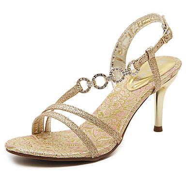 Mulheres Sapatos Courino Primavera Verão Conforto Sandálias Caminhada Salto Agulha Dedo Aberto Presilha para Social Dourado