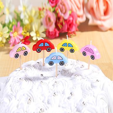party dekoration fødselsdag stearinlys sæt (5 stykker) søde biler små stearinlys