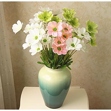 1 Ramo Poliéster Plástico Margaridas Flor de Mesa Flores artificiais