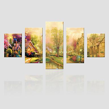 Canvas Set Landskap Moderne,Fem Paneler Lerret Vertikal Print Art Wall Decor For Hjem Dekor