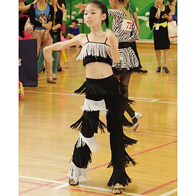 Dança Latina Roupa Crianças Apresentação Elastano 2 Peças Sem Mangas Natural Blusa Calças