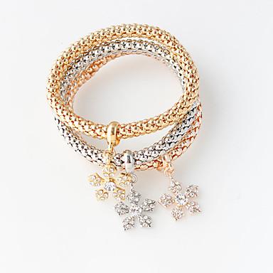 Dames Wikkelarmbanden Dubbele laag Modieus Legering Ronde vorm Goud/Zilver Sieraden Voor Bruiloft Feest 1 Set