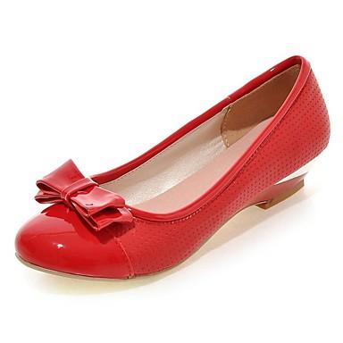 Sort / Rød / Hvid-Flad hæl-Kvinders Sko-Komfort / Rund tå-PU-Udendørs / Hverdag-Fladsko