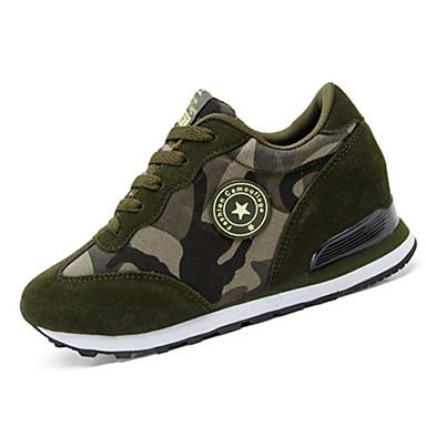 Mulheres Sapatos Lona / Outras Peles de Animais Primavera / Outono Conforto Saltos Sem Salto Cadarço Azul Escuro / Verde
