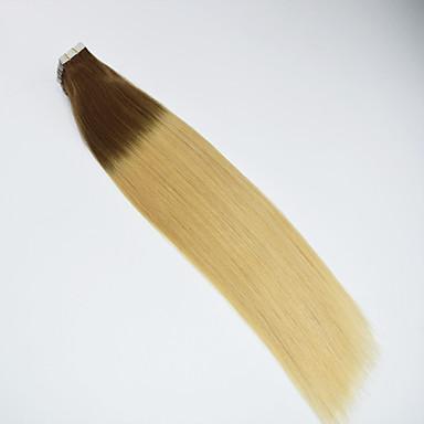 voordelige Extensions van echt haar-PANSY Tape-in Extensions van echt haar Recht Echt haar Ombre Gemiddeld bruin / bleekblond
