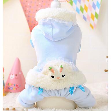 Cachorro Camisola com Capuz Macacão Roupas para Cães Mantenha Quente Desenho Animado Branco Azul Ocasiões Especiais Para animais de