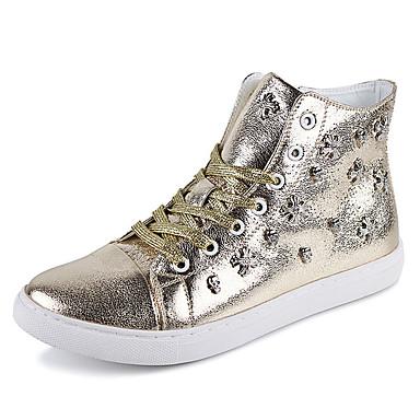 Sneakers-Læder-Komfort-Herre-Sølv Guld-Udendørs Fritid Sport-Flad hæl