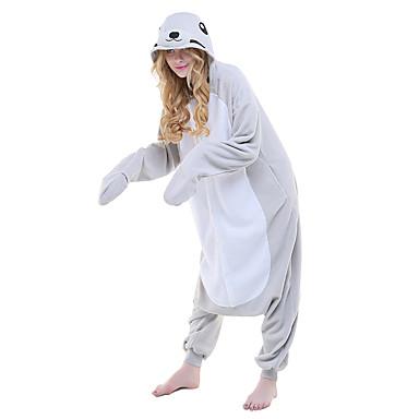 Kigurumi-pysjamas Segl Onesie-pysjamas Kostume Polar Fleece Grå Cosplay Til Voksne Pysjamas med dyremotiv Tegnefilm Halloween Festival /