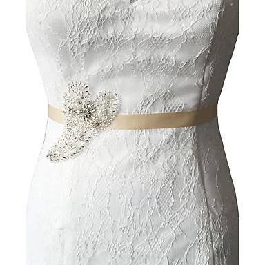 Satin Hochzeit Party / Abend Alltagskleidung Schärpe With Strass Perlenstickerei Paillette Applikationen Damen Schärpen