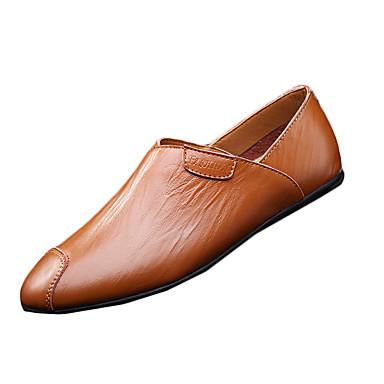 Heren Loafers & Slip-Ons Comfortabel Leer Lente Causaal Comfortabel Platte hak Wit Zwart Bruin Plat