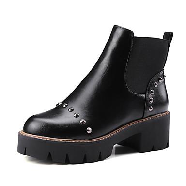 Støvler-PUDame-Sort Grå-Udendørs Fritid-Tyk hæl