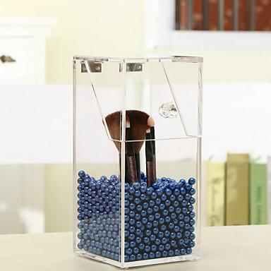 cristal maquiagem acrílico caso de organizador caixa de armazenamento de escova com grânulos da pérola cosméticos caso batom titular de