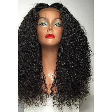 Peluca Lace Front Sintéticas Rizado Pelo sintético Entradas Naturales / Raya en medio Negro Peluca Mujer Larga Encaje Frontal