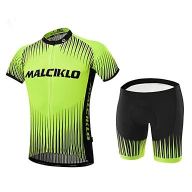 Malciklo Camisa com Shorts para Ciclismo Homens Manga Curta Moto Conjuntos de Roupas Secagem Rápida Zíper Frontal Vestível Alta