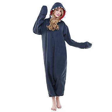Voksne Kigurumi-pyjamas Haj Onesie-pyjamas Kostume Polarfleece Blekk Blå Cosplay Til Nattøj Med Dyr Tegneserie Halloween Festival / Højtider / Jul