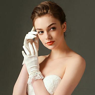 Stretchsatijn Polslengte Handschoen Bruidshandschoenen With Strik