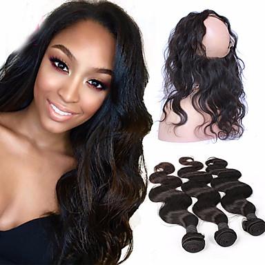4 pakker Brasiliansk hår 360 Frontal Krop Bølge 10A Ubehandlet hår Hår Veft Med Lukker Hårvever med menneskehår Hairextensions med menneskehår