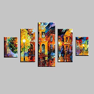Handgeschilderde Landschap elke vorm, Klassiek Traditioneel Kangas Hang-geschilderd olieverfschilderij Huisdecoratie Vijf panelen