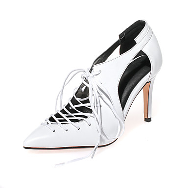 Korkokengät-Piikkikorko-Naisten kengät-Nappanahka / Tekonahka-Musta / Valkoinen-Toimisto / Puku / Rento / Juhlat-Korot / Comfort / Uutuus