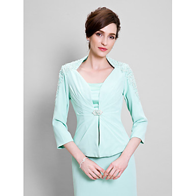 Chiffon Lace Wedding Party / Evening Women's Wrap With Beading Lace Coats / Jackets