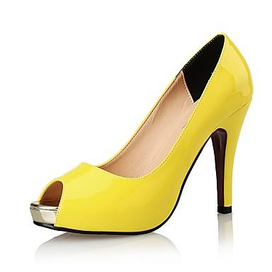Mulheres Sapatos Sintético Couro Envernizado Verão Outono Sapatos clube Sandálias Salto Agulha para Casamento Social Festas & Noite Preto