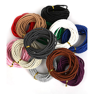 beadia 3mm round braided pu leather cord rope string for