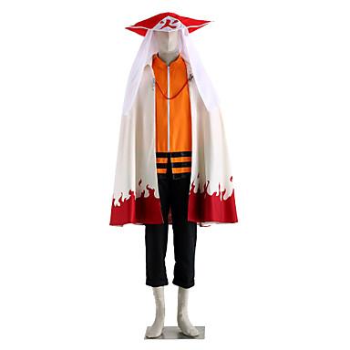 Inspirado por Naruto Naruto Uzumaki Animé Disfraces de cosplay Trajes Cosplay Un Color Manga Larga Top / Pantalones / Capa Para Hombre Disfraces de Halloween