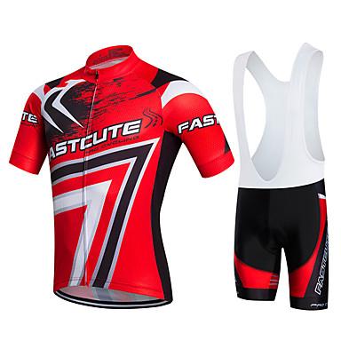 Fastcute Homme Femme Manches Courtes Maillot et Cuissard à Bretelles de Cyclisme - Rouge Vélo Ensemble de Vêtements, Séchage rapide,