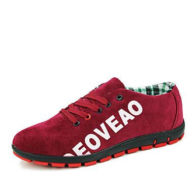 Herrn Schuhe Kunststoff Frühling Herbst Komfort Sneakers Schnürsenkel für Normal Schwarz Grau Rot Blau