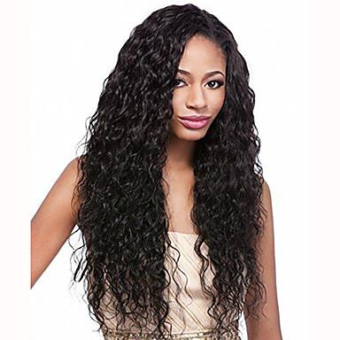 Syntetisk Lace Front Parykker Bølget Syntetisk hår Sort Paryk Dame Blonde Front Jet Sort