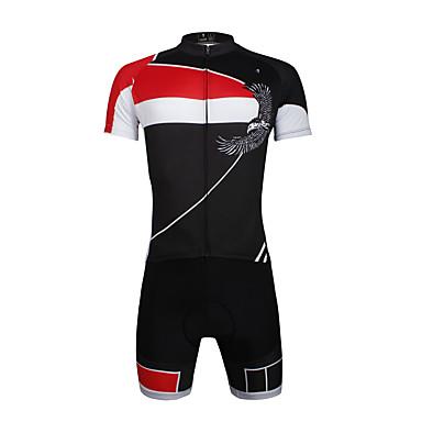ILPALADINO Herre Kortærmet Cykeltrøje og shorts - Rød Cykel Tøjsæt, 3D Måtte, Hurtigtørrende, Ultraviolet Resistent, Åndbart, Refleksbånd