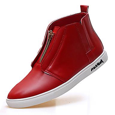 Heren Schoenen Microvezel Lente / Herfst Comfortabel Platte schoenen Wit / Zwart / Rood