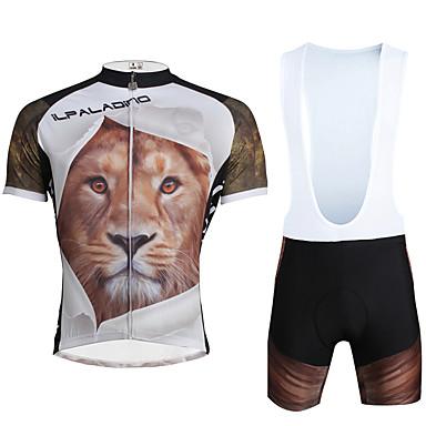 ILPALADINO Heren Korte mouw Wielrenshirt met strakke shorts - Zwart Fietsen Pakken, 3D Pad, Sneldrogend, Ultra-Violetbestendig, Ademend,