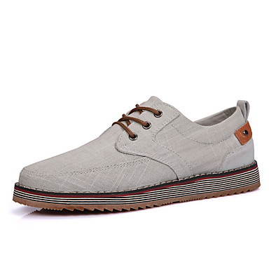 Heren Sneakers Lente Herfst Comfortabel Weefsel Casual Platte hak Veters Blauw Grijs Kaki