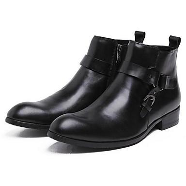 Heren Schoenen Leer Lente Zomer Herfst Winter Laarzen Voor Zwart koffie