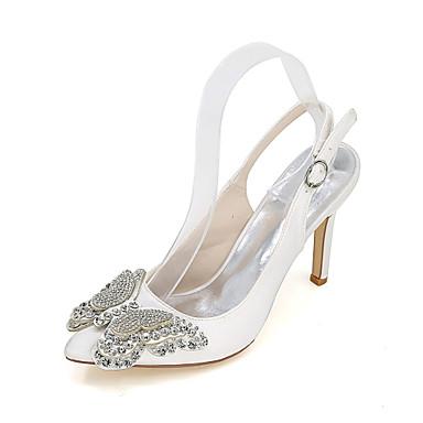 Mulheres Sapatos Seda Primavera / Verão Saltos Salto Agulha Pedrarias Azul / Champanhe / Ivory / Casamento / Festas & Noite